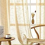 CUTEWIND Cortinas de lino con ojales, semitransparentes, textura de lino, para salón, dormitorio, ventana, 140 x 160 cm, marrón, 2 unidades