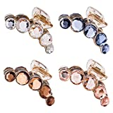 4 Pack Clear Gold Blue Brown Octopus Crystal Gems Glitter Sparkly Plastic Hair Claw Clips Clutcher Crab Jaw Barrettes Grips Clamps Clasps Buns Twist Hair Up Accessories for Women Girl