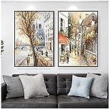 Lefgnmyi Paris Seine Street paisaje pintura al óleo sobre lienzo póster pintura impresiones artísticas cuadro de pared para decoración de sala de estar-20x28 INx2 piezas sin marco