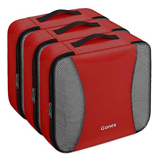 Gonex – 3 Packs Organizador para Maletas/Viaje Bolsas de Embalaje/Almacenaje Ultraligeros Multifuncionales Rip-Stop de Nylon Rojo