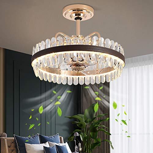 YUNZI Lujo Cristal Ventilador de Techo con Luces LED Encendiendo Lámpara de Techo, Regulable con Mando a Distancia Moderno Mudo Lámpara de Ventilador de Techo para Sala de Estar Habitación Comedor