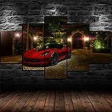 45Tdfc Foto Canvas Cuadro del Red Chevrol Corvette C7 Z06 Super Car  Fotografía Panorámica Impresa en Lienzo Cuadros Panorámicos Listos para Colgar Decoración 5 Piezas Tamaño 150x80cm