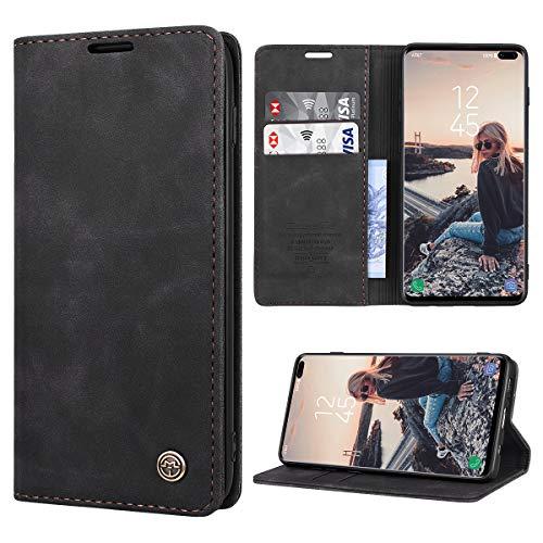 RuiPower Kompatibel für Samsung Galaxy S10 Plus Hülle Premium Leder PU Handyhülle Flip Hülle Wallet Lederhülle Klapphülle Klappbar Silikon Bumper Schutzhülle für Samsung S10 Plus Tasche - Schwarz