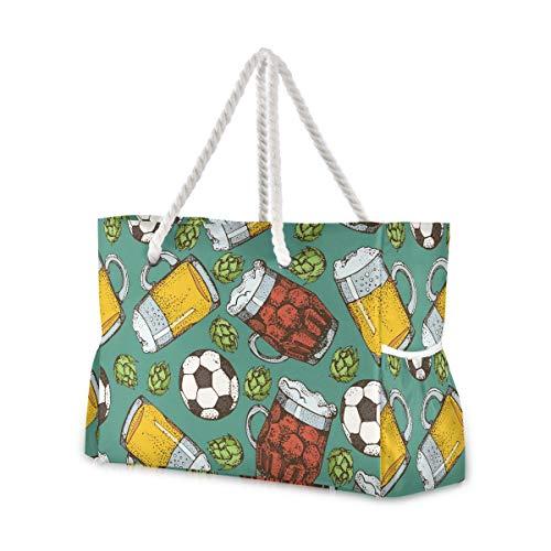 Mnsruu Strandtasche XXL Bierglas Becher Soccer Ball Schulter Strand Tote Baumwolle Seil Griffe Reise Tote Tasche für Frauen