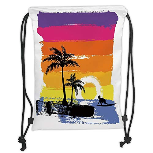 LULUZXOA Gym Bag Printed Drawstring Sack Backpacks Bags,Ride The Wave,Exotic Beach with Silhouette of Palm Trees and Surfer Ocean Heaven Image,TH