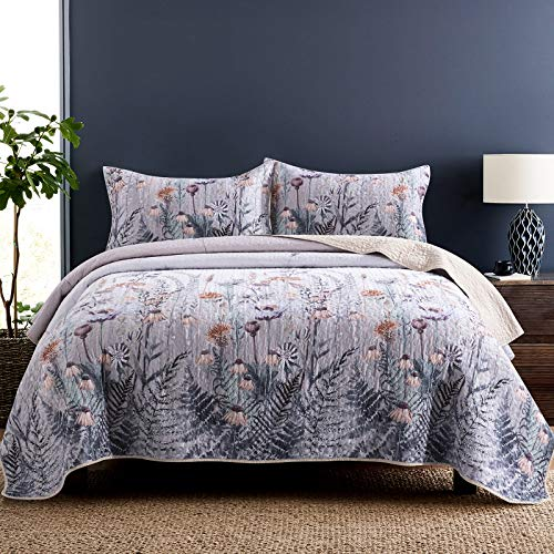 Honova King Quilt Set, Retro Leaf Flower Print Bedspread, Lightweight Soft Microfiber Quilted Coverlet 96'x106' with 2 Pillow Shams for All-Season