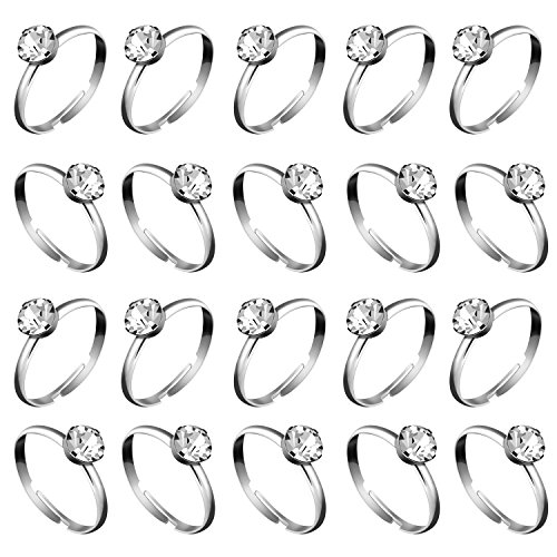 Whaline 36 Packs Silver Diamond Engagement Rings Bridal Shower Ring for Wedding Table Decorations, Party Supply, Favor Accents, Cupcake Toppers