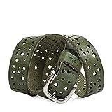 Lois - cinturón cuero piel genuina con hebilla metálica, flexible y duradero. largo adaptable. caja para original. vaqueros jeans. 30 mm. 501008, Color Oliva