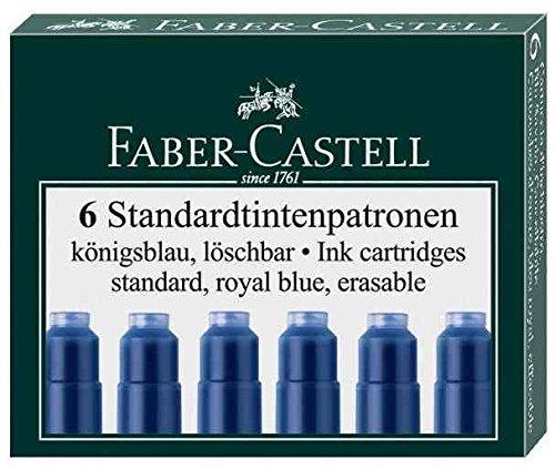 FABER-CASTELL 115826-Set de 10 estuches de 6 cartuchos estándar de tinta borrable, color azul