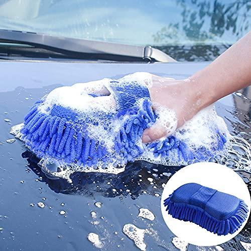 HuktDerマイクロファイバー スポンジ 洗車用品 吸水性拔群 弹性素材 極細繊維 洗車グッズ 家庭用【2枚セット】