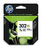 HP 302XL F6U67AE cartouche d'encre trois couleurs grande capacité authentique pour HP DeskJet 2130/3630 et HP OfficeJet 3830 Cyan, Magenta, Jaune