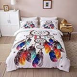 Chanyuan Atrapasueños multicolor, funda nórdica de 135 x 200 cm, 2 piezas, color blanco, juego...