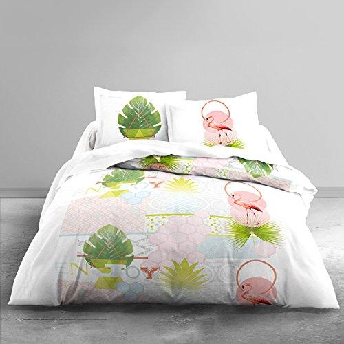 TODAY Parure de lit 2 Personnes Zen Puertorico Housse de Couette 220x240 cm + 2 taies d'oreiller 63x63cm, Coton, Blanc/Vert/Rose