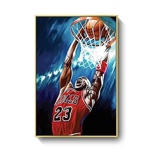 FAZHWEI Cuadro en Lienzo 60x90cm Sin marco Póster De Kobe Bryant Michael Jordan Lebron James, Decoración Nórdica Vintage Para Baño, Impresiones En Lienzo De Oficina