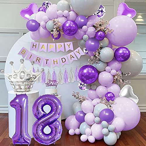 Decoración cumpleaños morado 18,  globo número 18,  globos morados pastel,  globos morados grises macaron,  pancarta HAPPY BIRTHDAY,  globos morados metálicos,  globos confeti morados,  globos corazón