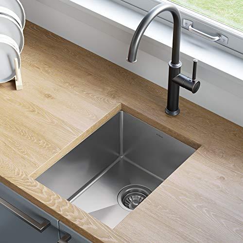 Kraus KHU101-14 Standart PRO 16 Gauge Undermount Single Bowl Stainless Steel Kitchen Bar Sink, 14 Inch