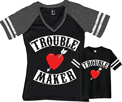 Trouble Maker Mom Shirt Black & Trouble Kids Baby Boy Matching Set (Mom Black/Boy Black, Mom Medium/Toddler 5/6T)
