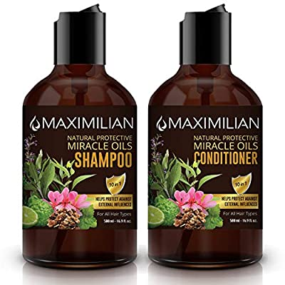 MAXIMILIAN All Natural Shampoo and Conditioner Set - Shampoo and Conditioner without SLS, Gluten, Sulfate, Parabens, Silicone-Clarifying, Hydrating Control for Womens & Mens (2 x 16.9 Fl Oz / 500mL)