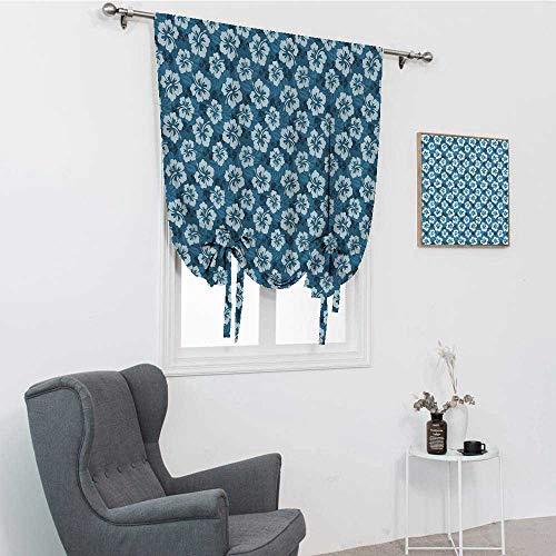 GugeABC Cortinas para ventana de cocina, diseño de flores y hojas hawaianas de hibisco hawaiano, exóticas isla de Hawai, color azul petróleo, azul pálido, 76,2 x 162,6 cm