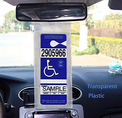 """HOME-X Set of 3 Handicap Placard Protector with Hanger, Permit Holder-Disabled Parking Permit Holder with Larger Hook-Clear-11"""" L X 5 ¼"""" W Photo #7"""