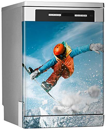 Megadecor decoratief vinyl voor vaatwasser, afmetingen standaard 67 cm x 76 cm, snowboarder Saltando