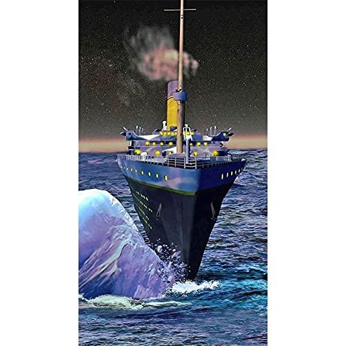 5D DIY Diamond Painting Grande Cross stitch Kit, Barco Mar completos diamantes de imitación de cristal bordado de Decoración de la sala de decoración pegatinas de pared Square Drill 50x100cm