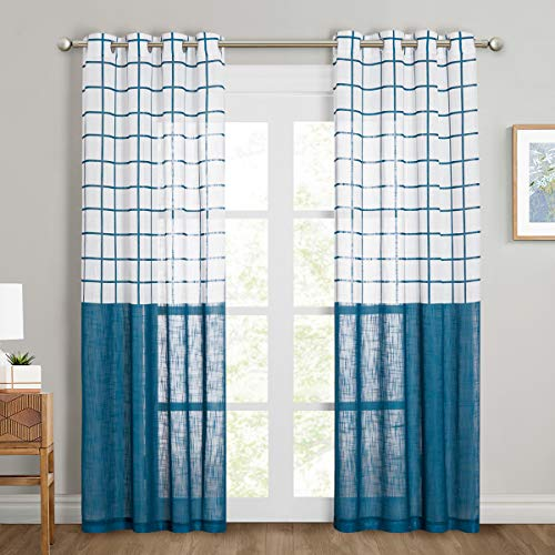 NICETOWN White & Navy Blue Sheer Drapes and Curtains Linen Blend Texture, Lattice Pattern Semitransparent Vertical Window Treatments Privacy for Patio/French/Glass Sliding Door, W50 x L84, Set of 2