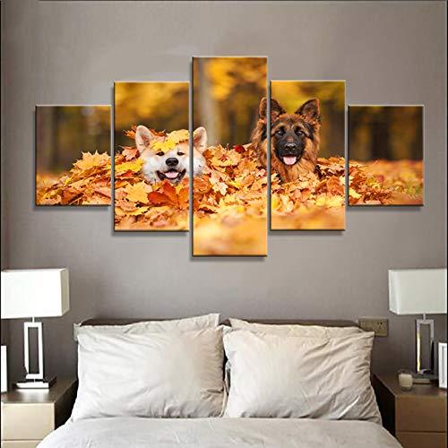 CUISAI 5 Cuadros en Lienzo Salon Decoracion Lindo perro animal 200X100cm(Sin marco)Póster de arte cuadro Modular pintura de pared decoración del hogar moderno sobre lienzo el marco de la sala de es
