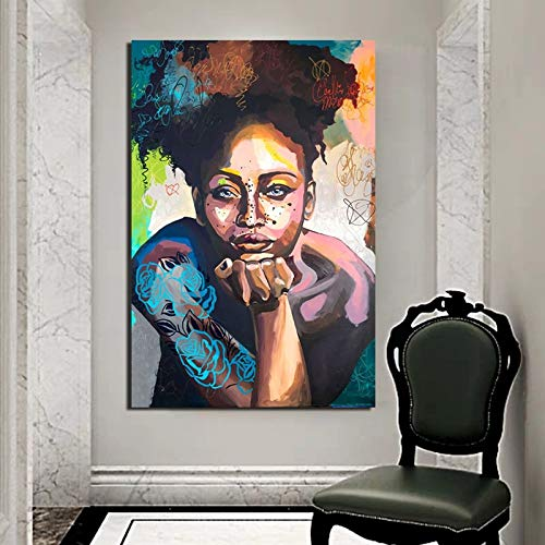 YuanMinglu Niña Africana Lienzo Imagen Sala de Estar decoración del hogar Moderno Arte de la Pared Pintura al óleo póster Imagen Accesorios Pintura sin Marco 75x116 cm