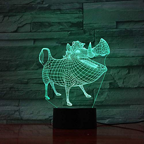 Veilleuse 3D LED Decor Lampara Illusion Touch Sensor Enfant Enfant Cadeau Décoration Cartoon Le Roi Lion Lampe De Table Chambre