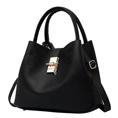 TUDUZ Handtaschen Damen Mode Taschen Leder Schultertaschen Umhängetaschen Handtaschen für Frauen (Schwarz)