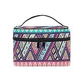 HaJie - Bolsa de maquillaje de gran capacidad, diseño bohemio tribal étnico azteca de viaje, portátil, neceser, bolsa de almacenamiento, bolsa de lavado para mujeres y niñas
