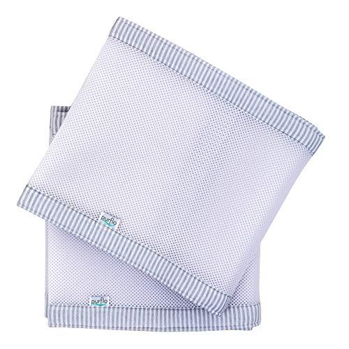 PurFlo PurAir - ademende bumpers voor kinderbedden - babybed nestje baby randbescherming beduitrusting, unisex, kleur grijs/wit