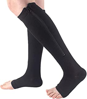Ailaka Zipper Medical 15-20 mmHg Compression Socks for Women and Men, Knee High Open Toe Firm Support Graduated Varicose V...