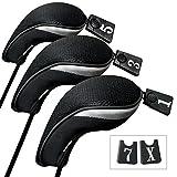 Andux 3 Packung Golf Holz Schlägerkopfhüllen Eisen hauben austauschbar Nr. Etikett MT/mg04 schwarz...