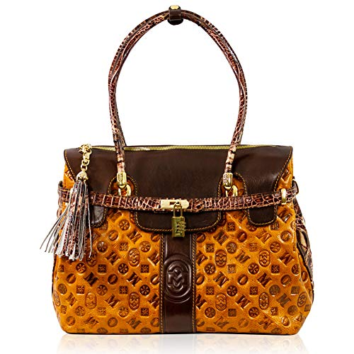 Marino Orlandi Women's Extra Large Handbag Italian Designer Tote Purse Genuine Leather Top Handle Satchel Crossbody Handbag in Cognac Quilted Embossed Monogram Design with Tassel and Lock