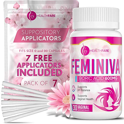 HealthFare Boric Acid Vaginal Suppositories - 30 Count, 600mg + 7 Free Applicators, Intimate Health Support - 100% Pure Made in USA