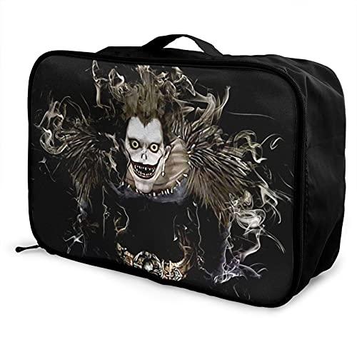 Nota de la muerte portátil bolsa de equipaje ligero de gran capacidad impermeable negro moda vacaciones viajes hombres mujeres