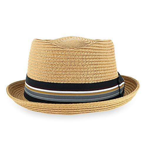 Belfry Men/Women Summer Straw Pork Pie Trilby Fedora Hat in Blue, Tan, Black (Tan, Large)