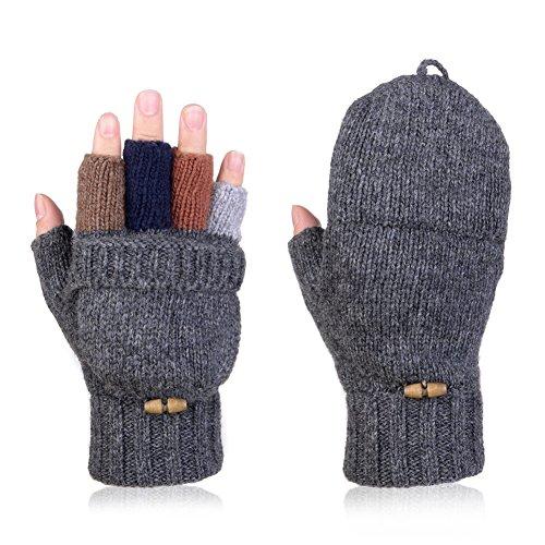 Vbiger Winter Handschuhe Fingerlose Fäustlinge Damen Fingerhandschuhe Fingerlos Halb Handschuhe Strick Handschuhe mit Flip Top, Dunkelgrau, Einheitsgröße