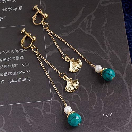 ghn Hoop Earrings Antique Chinese Style Earrings Retro Court Chinese Style Ginkgo Leaf Ear Stud Costume Pierceless Ear Clip Female Drop Dangle Earrings (Metal Color : A Pair)
