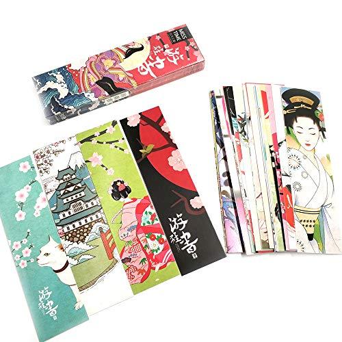 Marcapáginas de 30 hojas, diseño japonés, para niños, mujeres, estudiantes, papel, lectura, incentivos para la escuela, premios, tarjeta de notificación, bendición
