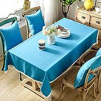 ヨーロッパの牧歌的なスタイルのテーブルクロス高品質の綿とリネン刺繍パターンユニバーサルカバータオル (Color : Blue-D, Size : 130*130CM)