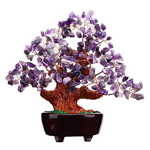 7 Inch Purple Crystal Money Tree Feng Shui Natural Amethyst Quartz Gem Stone Money Tree