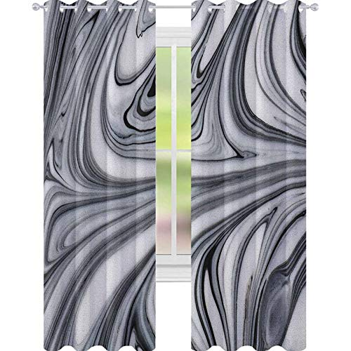 YUAZHOQI Abstract Drape for French Door Mix of White and Black Hallucinatory and Surreal Liquid Marble Figures Graphic Artwork Blackout Draperies for Bedroom 52' x 95' Grey