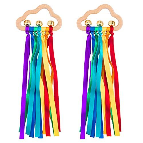 Arco iris de madera anillo juguetes – 2 piezas cinta sonajero cinta de arco iris molar círculo de madera bebé recién nacido mordedor sensorial juguete para bebés de 6 a 12 meses niños niñas