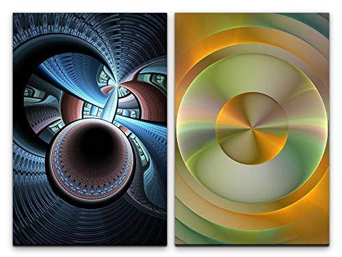 Paul Sinus Art Wandbild 2 teilig je 60x90cm Fraktal Kreise Wellen Spiritual Fantasie Abstrakt Modern