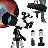 Sisliya Travel Telescope Refractor 70mm Aperture 400mm, Planet Telescope Astronomical Refractor Telescope for Kids Adults & Beginners,4 Eyepieces, Adjustable Tripod, Finder Scope Adapter