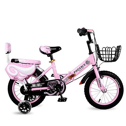 BAICHEN Fahrräder Kinderfahrrad 12/14/16/18 Zoll Jungen und Mädchen beim Radfahren,Für Kinder geeignet Im Alter von 2-9 faltbares Fahrrad,Pink,18inches