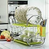 PPuujia Estante para platos de acero inoxidable, escurridor, escurridor, escurridor, escurridor, bandeja para secadora, organizador de cocina (color: G2A)